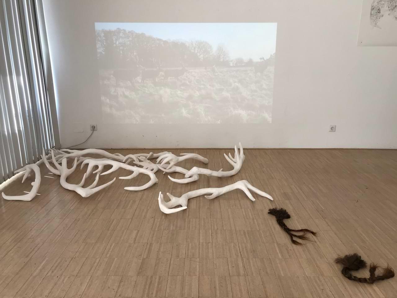 Contemplations-Gedok-Stuttgart-2-2018-performance-video-urban-landscape-deer-hirsche-malerei-painting-zeichnung-drawing-linoldruck-linoprint-installation-gipsskulpturen