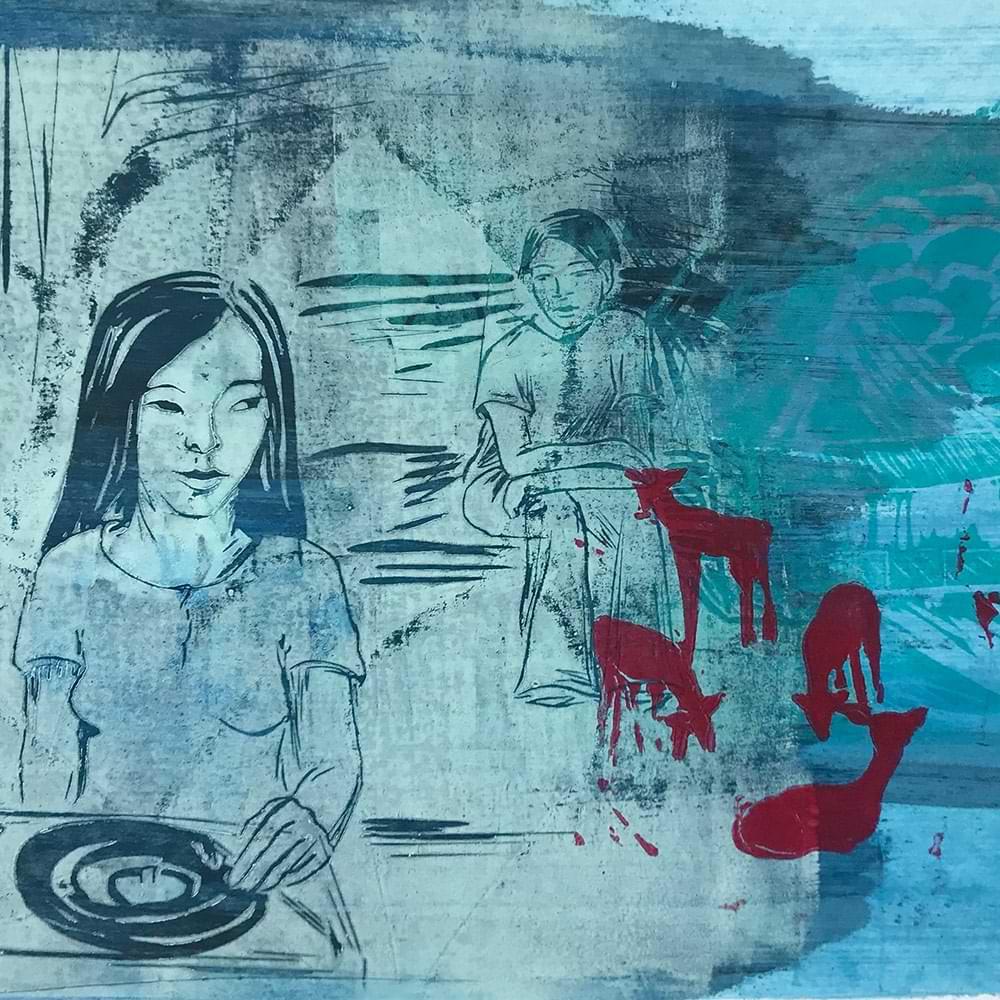 christiane haag japan japaneseart japaneseculture haruki murakami southoftheborderwestofthesun art linoprint printmaker linoldruck