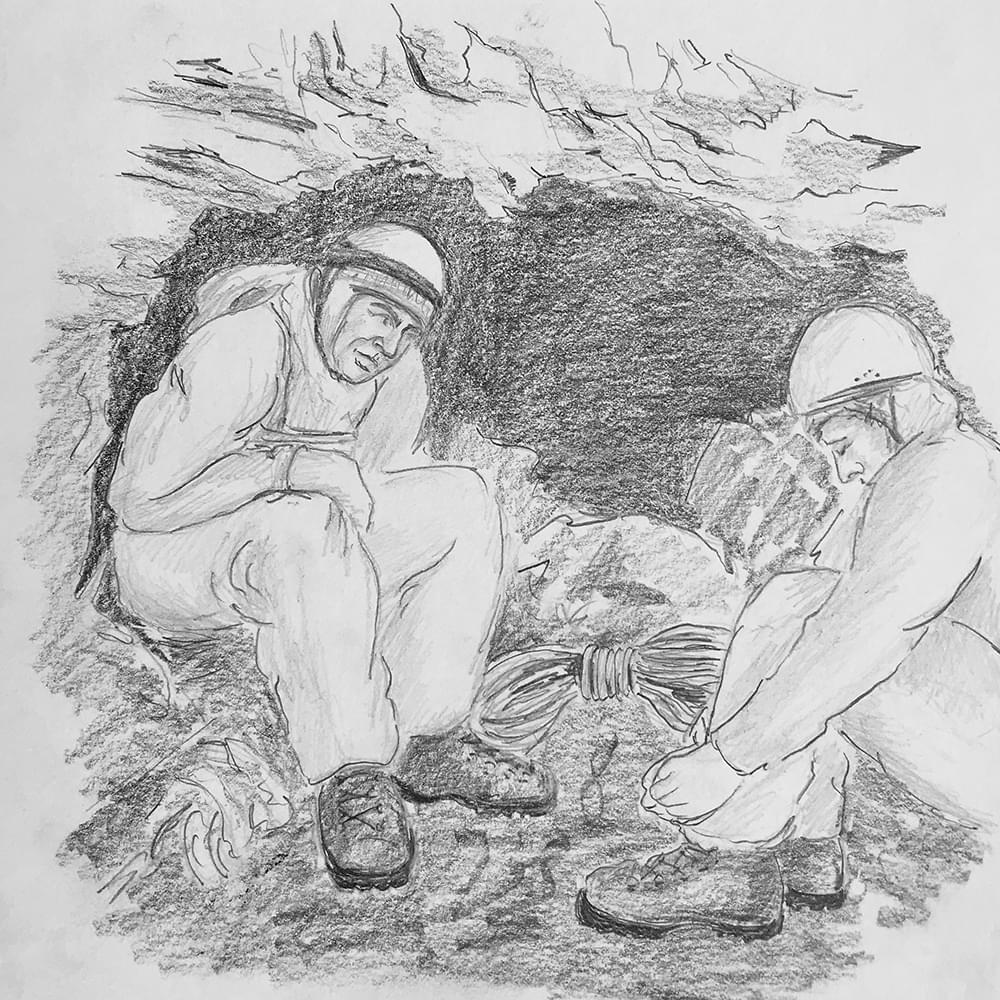 christiane haag kuenstlerin artist bleistiftzeichnung graphicnovel eiger nordwand direktroute erstbegehung peter haag john harlin climbing drawing