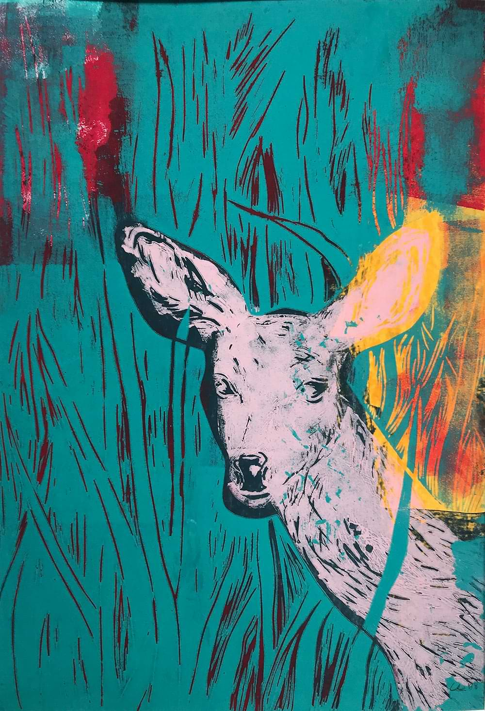 christiane haag kuenstlerin printmaking linoprint urbandeer urbannature art