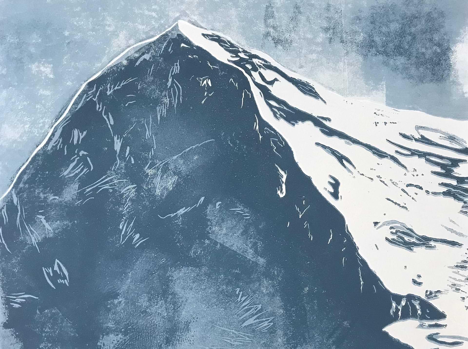 christianehaag-eigermemories-klosterkirchepfullingen-2016eigernordwand-direttissima-zeichnung-drawing-kunst-art-berge-mountains-alpen-linoldruck-linoprint
