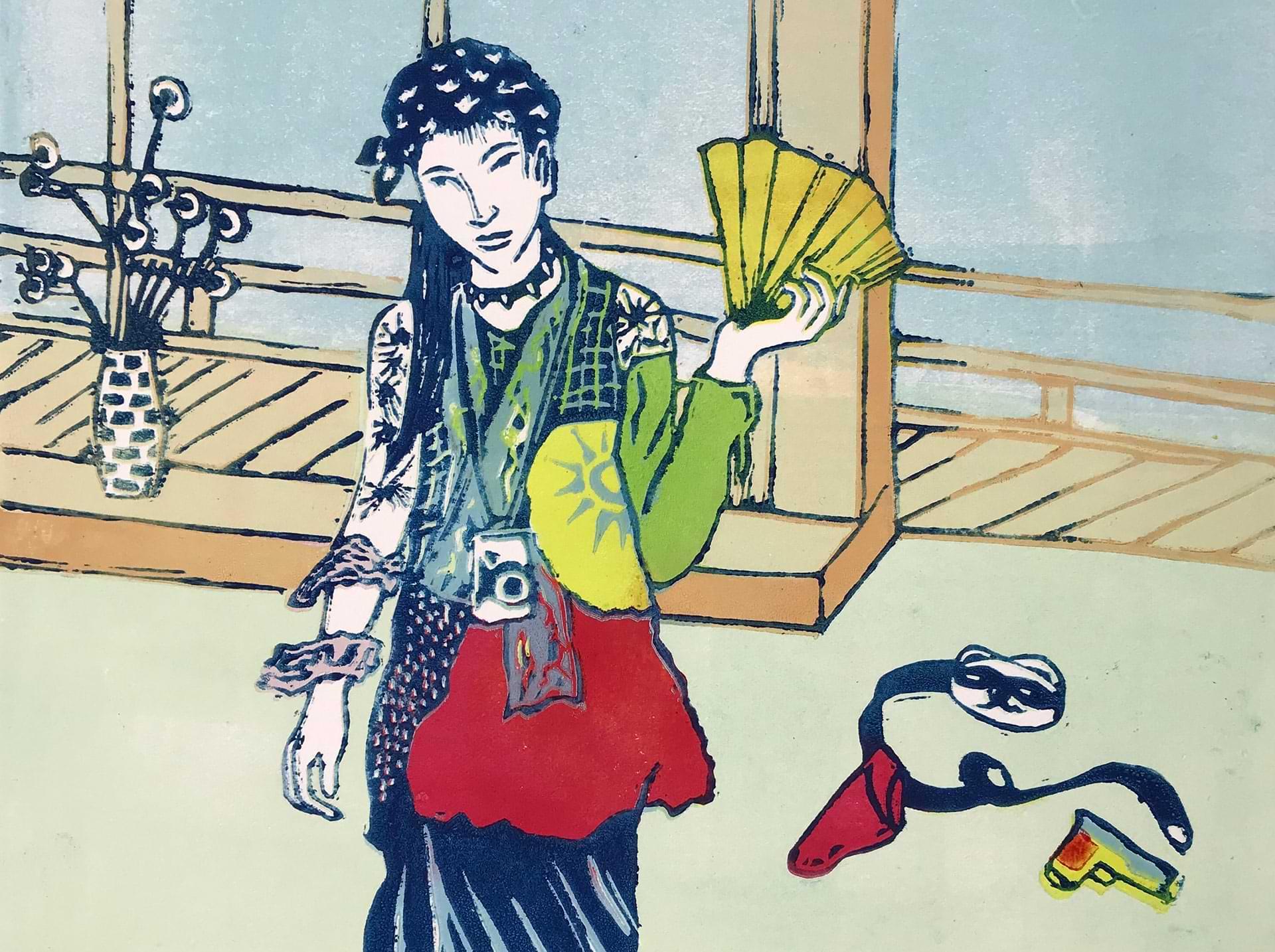 christianehaag-guerillageishas-japan-japaneseart-kunst-art-linoldruck-linoprint