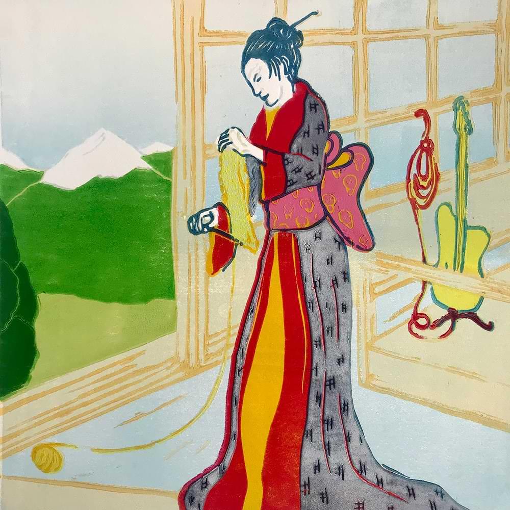 christiane haag artist kunst art japaneseprint japan linoldruck linoprint printmaker geisha